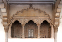 Frontal view on royal box under arches of reception hall at Agra Fort in India.