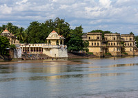 Temples on the river shore.