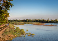 Wide view over Vennar River from dam.
