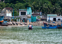 Fishing village as seen from the sea.