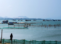 View on the fish farms in the sea.