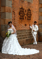 Wedding picture taken on the side of the Cathedral.