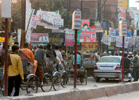 Heavy traffic in downtown Varanasi.