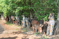 Horse statues in different stages of decay.