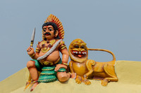 Ayyanar the guardian and village protector on wall of temple.