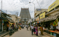 Shopping alley leading to the Rajagopuram.