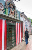 Shrine for Ayyanar, the village protector, here the neighborhood protector.