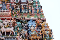 Corner of Gopuram: Shiva and Parvati together at their home in Kailash atop the multi-headed Ravana.