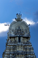Top of the gopuram with birds.