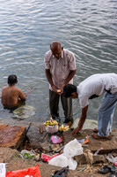 Ash urn decorated and lighted before offering the ashes to the holy Cauvery River.
