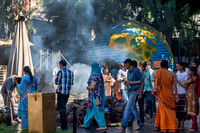 Devotees circle the havan, the pit with sacred fire.