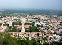 The temple grounds in Thiruvannamalai and part of town.