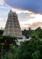 The gopuram of Shiva temple at sunset.