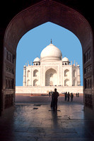Taj Mahal mausoleum seen from inside mosque at India's Agra.