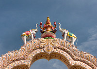 Goddess Lakshmi on top of the entrance gate.