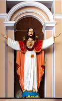 The sacred heart statue inside the church.