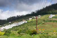 neighborhood of box-houses on the slope of the hill.
