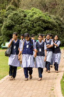 High school students walking the Botanical Garden of Ooty.