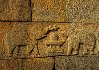 Two elephants make a bridge with their trunks over the Linga in the Yoni.