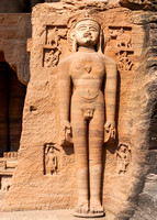 Huge Jain statue carved out of rock wall in Gwalior.