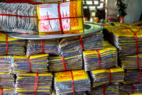 Packages of fake money for sale at the temple.