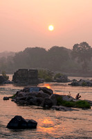 Local preparing his morning ritual in the Betwa River early morning.