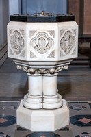 Close up of the baptismal font.