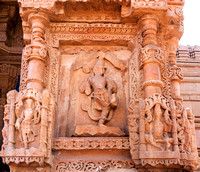 Images outside wall medieval Hindu temples on Gwalior's Rock.
