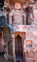 Impressive giant Jain figure carved out of Gwalior's Rock.