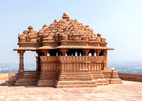 Smaller of the two medieval Hindu temples on the rock of Gwalior.