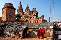 Temple in the background of slums.