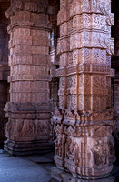 Two decorated pillars in the medieval Hindu temples on Gwalior's rock.