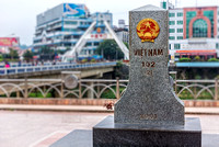 Memorial stone at the Vietnamese side of the border crossing with the Chinese city of Hekou.