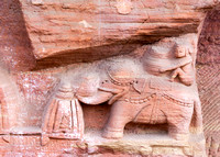Detail of rock carving in Gwalior at Jain site.