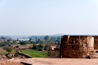 Looking from atop the stables in the fort to downstream Betwa River.