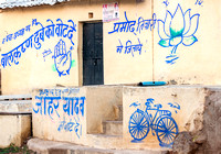INDIA Orchha:The slogans of three different parties painted on the walls.