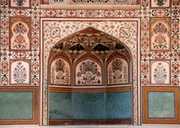 Decorated partition of one of the walls at the palace at Amber Fort.