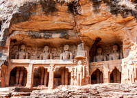 Collection of giant Jain figures carved out of Gwalior's Rock.