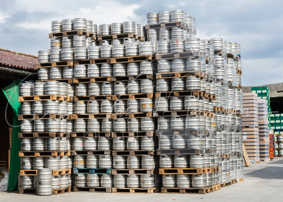 Stack of empty kegs.