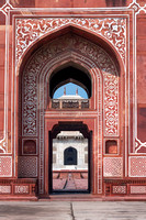 Looking through an entrance gate to the Baby Taj.
