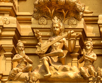 Detail of statues on the golden entrance tower: Saraswati, goddess of knowledge and education.