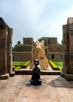 The two Nandi statues seen from the patio in front of the temple.