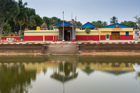Temple building set at the pond.