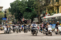 Motorcycles in the streets of Hanoi.