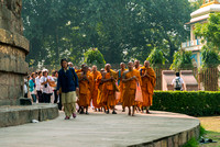 Buddhist monks lead group of pilgrims around the stupa.