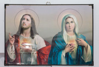 Jesus and his mother framed poster in private house of the Saint.
