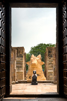 The two Nandi statues seen from just inside the temple.