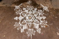 Rangoli at entrance to their local.